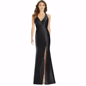 Alfred Sung Black Sateen Twill Sample Gown Size 8